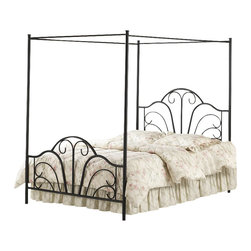 Hillsdale - Hillsdale Dover Black Metal Canopy Bed-Full - Hillsdale - Beds - 348BFPR - The Dover Canopy Bed is transitional in style with traditional design elements that give it an exciting modern look. It features a classic scroll metalwork pattern in the headboard and footboard that is sure to complement any bedroom decor.