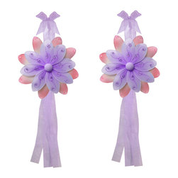 "Bugs-n-Blooms - Flower Tie Backs Purple Pink Two-Tone Nylon Flowers Tieback Pair Set Decor - Window Curtains Holder Holders Tie Backs to Decorate for a Baby Nursery Bedroom, Girls Room Wall Decor - 6"" Diameter Purple Pink Two-Tone Curtain Tieback Set Daisy Flower 2pc Pair - Beautiful window curtains tie backs for kids room decor, baby decoration, childrens decorations. Ideal for Baby Nursery Kids Bedroom Girls Room.  This gorgeous nylon peachy-pink and accented color daisy flower tieback set have a double layer of petals and is nicely embellished with sparkling pink sequins & glitter.  This pretty daisy flower decoration is made with a soft bendable wire frame & have color match trails of organza ribbons. Has 2 thick color matched organza ribbons to wrap around the curtains.  The back petals are pink and nicely accented with sequins. The front petals are the color and have a touch of pink glitter and sequins.  Visit our store for more great items. Additional styles are available in various colors, please see store for details. Please visit our store on 'How To Hang' for tips and suggestions. Please note: Sizes are approximate and are handmade and variances may occur. Price is for one pair (2 piece)"