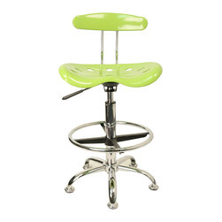"""Flash Furniture - Vibrant Apple Green and Chrome Drafting Stool with Tractor Seat - Quality chair at an amazingly affordable price! This sleek, modern stool conforms to several areas in the home or office. The molded tractor seat offers great comfort. The height adjustable capability of this stool allows you to use the stool at the dining table and bar table and anywhere in between.; Tractor Stool; Apple Green Molded """"Tractor"""" Seat; High Density Polymer Construction; 10"""" Height Range Adjustment; Pneumatic Seat Height Adjustment; Height Adjustable Chrome Foot Ring; Chrome Frame and Base; Black Plastic Floor Glides; Assembly Required: Yes; Country of Origin: China; Warranty: 2 Years; Weight: 19 lbs; Dimensions: 32 - 40.5""""H x 17""""W x 16.5""""D"""