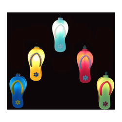 Kurt Adler - Coloful Sandals 10-Light String of Party Lights - A colorful set of party lights with detailed miniature sandals. Add some color and relaxed charm with this set of sandal party lights. Each light features a miniature sandal lighted from within by a small fixture.