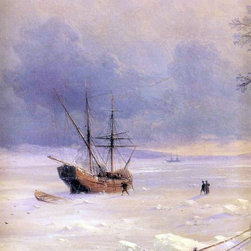 """Ivan Constantinovich Aivazovsky Frozen Bosphorus Under Snow Print - 16"""" x 20"""" Ivan Constantinovich Aivazovsky Frozen Bosphorus Under Snow (detail) premium archival print reproduced to meet museum quality standards. Our museum quality archival prints are produced using high-precision print technology for a more accurate reproduction printed on high quality, heavyweight matte presentation paper with fade-resistant, archival inks. Our progressive business model allows us to offer works of art to you at the best wholesale pricing, significantly less than art gallery prices, affordable to all. This line of artwork is produced with extra white border space (if you choose to have it framed, for your framer to work with to frame properly or utilize a larger mat and/or frame).  We present a comprehensive collection of exceptional art reproductions byIvan Constantinovich Aivazovsky."""