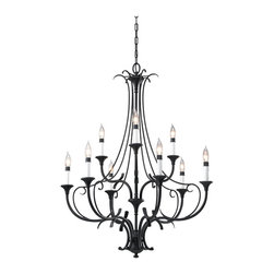 Feiss - Feiss F2534/6+3BK Peyton 9 Light Black Chandelier - Finish: Black