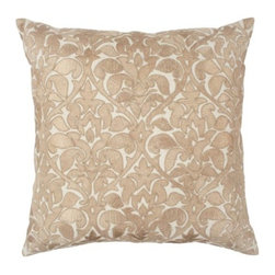 "Z Gallerie - Parisian Pillow 24"" - Our elegant gold Parisian Pillow infuses your space with subtle colors and an interpretative embroidered baroque motif.  Made of 100% cotton, a Parisian baroque damask design is elegantly embroidered on the front in ivory hued cording, making our Parisian Pillow a stunning decorative accent piece. Completing the look our Parisian Pillows are filled with a sumptuous feather and down insert with zipper closure for the ultimate in comfort."