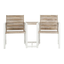 Safavieh - Jovanna 2 Seat Bench - White Frame/ Oak Seat - Good things come in pairs. The Jovana Two Seat Bench is the epitome of contemporary style. A sublime fusion of form and function, it offers two full-sized, sturdy seats crafted with acacia wood and galvanized steel- connected by a petit table perfect for warm weather cocktails.