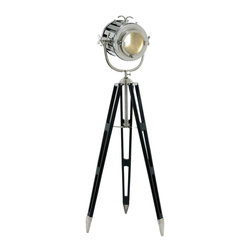 "Benzara - Tripod Spot Light with Silvery Metallic Finish - Tripod spot light with silvery metallic finish. Enrich your home decor with a lavish ambience with this tripod spotlight. It comes with the following dimensions 25"" W x 25"" D x 72"" H. 21"" W x 21"" D x 18"" H."