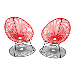 Harmonia Living - Acapulco 2 Piece Lounge Chair Set, Candy Apple Red with Black Frame - The Acapulco 2 Piece Lounge Chairs Set in Candy Apple with Black Frame (SKU HL-ACA-2LC-CA-BL) blends mid-century design with modern funk to create a new standard of comfort and style for your patio. The collection is inspired by woven furniture that was incredibly popular in Central America in the 1950s and '60s, creating seating that is supportive and breathable. This makes the Acapulco Lounge Chairs ideal for unwinding even in the warmest climates. The chair is designed to center your weight between its triangular legs, providing a stable and comfortable resting position that seems to defy the outrageous geometry of the collection. Beyond its comfortable design, the Lounge Chairs is constructed with a powder-coated steel frame, making it incredibly durable and weather-resistant. The frame is wrapped in a supportive Polyethylene cord, giving the collection its distinctive look. The chair is available in 4 funky colors that are sure to brighten up your patio, including Lime Green, Hot Pink, Candy Apple Red, Glacier Blue, White Lighting, Atomic Tangerine and Jet Black.