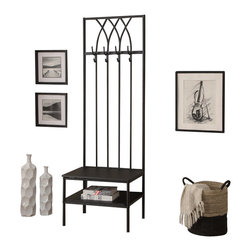 Monarch Specialties - Monarch Specialties 4540 Entry Bench in Black Hammered Metal - If features and functionality is what you are looking for, look no further. Here is a fashionable hallway entry bench with a storage shelf and 4 coat hooks for ample storage. A thick padded black cushion seat creates a comfortable place to rest and put on your shoes before the start of your busy day.
