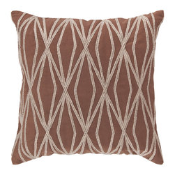 """Surya - Geometric Design Square Cotton Pillow COM-021 - 22"""" x 22"""" - This pillows vibrant geometric design is bound to make a style statement in your room. The tantalizing chocolate backdrop permits the organic shapes to splash into your space, opening up the room and constructing a sense of modern magic you've been searching for. This pillow contains a zipper closure and provides a reliable and affordable solution to updating your home's decor."""