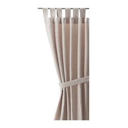 LENDA Pair of curtains with tie-backs - Pair of curtains with tie-backs, light beige