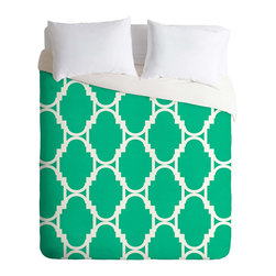 DENY Designs - DENY Designs Rebecca Allen Pillow Talk Turquoise Duvet Cover - Lightweight - Turn your basic, boring down comforter into the super stylish focal point of your bedroom. Our Lightweight Duvet is made from an ultra soft, lightweight woven polyester, ivory-colored top with a 100% polyester, ivory-colored bottom. They include a hidden zipper with interior corner ties to secure your comforter. It is comfy, fade-resistant, machine washable and custom printed for each and every customer. If you're looking for a heavier duvet option, be sure to check out our Luxe Duvets!