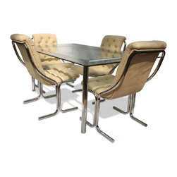 Vintage Chrome And Glass Dining Set, Att Milo Baughman - table: 28.5 h x 42 w x 60 l; chairs: 36 h x 21 w x 26 d; glass top: .25 thick, beveled
