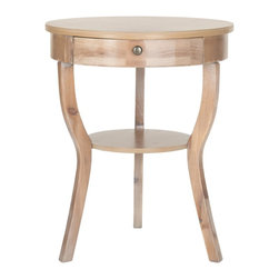 Safavieh - Kendra End Table - Honey Natural - The classically styled Kendra end table assumes a fashion edge with chic colors and finishes. Its round top and shelf supported by whimsical splayed legs look fresh and new with fir wood in a classic honey natural finish. Great with reading lamps beside a sofa or chair, the Kendra end table transitions beautifully into the bedroom.