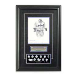 "Heritage Sports Art - Original art of the MLB 1935 Detroit Tigers uniform - This beautifully framed piece features an original piece of watercolor artwork glass-framed in an attractive two inch wide black resin frame with a double mat. The outer dimensions of the framed piece are approximately 17"" wide x 24.5"" high, although the exact size will vary according to the size of the original piece of art. At the core of the framed piece is the actual piece of original artwork as painted by the artist on textured 100% rag, water-marked watercolor paper. In many cases the original artwork has handwritten notes in pencil from the artist. Simply put, this is beautiful, one-of-a-kind artwork. The outer mat is a rich textured black acid-free mat with a decorative inset white v-groove, while the inner mat is a complimentary colored acid-free mat reflecting one of the team's primary colors. The image of this framed piece shows the mat color that we use (Medium Blue). Beneath the artwork is a silver plate with black text describing the original artwork. The text for this piece will read: This original, one-of-a-kind watercolor painting of the 1935 Detroit Tigers uniform is the original artwork that was used in the creation of this Detroit Tigers uniform evolution print and tens of thousands of other Detroit Tigers products that have been sold across North America. This original piece of art was painted by artist Bill Band for Maple Leaf Productions Ltd.  1935 was a World Series winning season for the Detroit Tigers. Beneath the silver plate is a 3"" x 9"" reproduction of a well known, best-selling print that celebrates the history of the team. The print beautifully illustrates the chronological evolution of the team's uniform and shows you how the original art was used in the creation of this print. If you look closely, you will see that the print features the actual artwork being offered for sale. The piece is framed with an extremely high quality framing glass. We have used this glass style for many years with excellent results. We package every piece very carefully in a double layer of bubble wrap and a rigid double-wall cardboard package to avoid breakage at any point during the shipping process, but if damage does occur, we will gladly repair, replace or refund. Please note that all of our products come with a 90 day 100% satisfaction guarantee. Each framed piece also comes with a two page letter signed by Scott Sillcox describing the history behind the art. If there was an extra-special story about your piece of art, that story will be included in the letter. When you receive your framed piece, you should find the letter lightly attached to the front of the framed piece. If you have any questions, at any time, about the actual artwork or about any of the artist's handwritten notes on the artwork, I would love to tell you about them. After placing your order, please click the ""Contact Seller"" button to message me and I will tell you everything I can about your original piece of art. The artists and I spent well over ten years of our lives creating these pieces of original artwork, and in many cases there are stories I can tell you about your actual piece of artwork that might add an extra element of interest in your one-of-a-kind purchase."