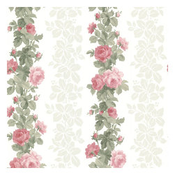 Brewster Home Fashions - Preshea Pink Rose Stripe Wallpaper. - Transform your home into a botanical garden with this luscious floral striped wall paper. Rich sage leaves surround bursting pink roses to create a romantic and ethereal haven.