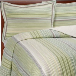 "Pem America, Inc. - Sage Harbor Quilt - This refreshing, prewashed quilt enhances any bedroom decor with a simple, clean look. The multi-colored yarn dyed fabric in soft shades of green with a touch of yellow is enhanced by 1/2"" channel quilting for added durability."