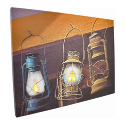 Zeckos - Flickering LED Hanging Lanterns Canvas Wall Hanging - This canvas features a rustic image of hanging lanterns, and has perfectly placed LED lights to bring it to life. It measures 12 inches tall, 16 inches wide, 3/4 of an inch thick, and has 2 hanging slots cut into the wooden frame so it easily mounts to any wall. The flickering lights are powered by 2 AA batteries (not included), are controlled by an inconspicuous on/off switch on the side of the canvas, and unsightly wires are concealed and contained by the vinyl backing. This piece is a unique accent that is sure to be admired, and makes a wonderful housewarming gift.