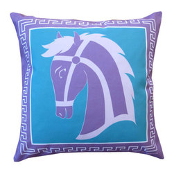 "Mari Robeson Home - Greek Key Horse Pillow, Without Pillow Insert (Cover Only) - Giddy Up! Meet our Greek Horse 16"" x 16"" Pillow Slip Cover with hidden zipper enclosure! Back of the pillow is Teal Chaz. Pairs nicely with our 12"" x 16"" Lucky Horse Pillow and looks great in any room of your home!"