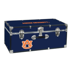 Seward Trunk - Auburn University Storage Trunk - Officially licensed. Front center key lock. One handle on the front. Paper lined to help protect interior contents. Screen printed logo. Heavy gauge vinyl. Nickel hardware and trim. Made from wood. Blue finish. Made in USA. 30 in. L x 15.75 in. W x 12.25 in. H (18 lbs.)Storage you can show off!!!