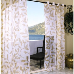 Leaf Sheer Outdoor Curtain - The Leaf sheer outdoor curtain has a printed leaf pattern and is available in several sizes and colors.