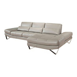 J&M Furniture - J&M Furniture 833 Italian Leather Sectional in Stone - Left Facing - Italian Leather sectional set by Nicolette Italia. Fashionable and stylish in Grey top grain leather. Fixed seats and lumbar support cushions and backs have high density foam to give you extra comfort and support. Available in Right Hand Facing Chaise and Left Hand Facing Chaise. Nicolette Italia is the premier leather sofa manufacturer in the business offering unmatched craftsmanship and leather quality.
