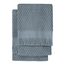 Nine Space - Dotty Hand Towel (Set of 2), Steel Blue - At 680 grams per square meter, these hand towels are luxuriantly soft and amazingly absorbent. They offer up plenty of visual texture with an irresistibly charming bubble pattern, giving your bath a look that's at once elegantly refined and subtly whimsical.
