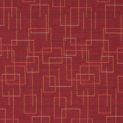 Burgundy Salmon Green Geometric Squares Durable Upholstery Fabric By The Yard - P6135 is great for residential, commercial, automotive and hospitality applications. This contract grade fabric is Teflon coated for superior stain resistance, and is very easy to clean and maintain. This material is perfect for restaurants, offices, residential uses, and automotive upholstery.