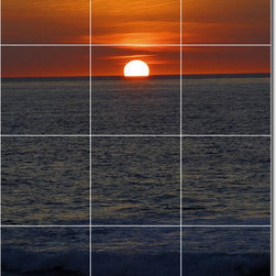 Picture-Tiles, LLC - Sunsets Photo Bathroom Tile Mural 14 - * MURAL SIZE: 48x36 inch tile mural using (12) 12x12 ceramic tiles-satin finish.