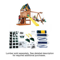 Swing-N-Slide - Swing-N-Slide Alpine Swing Set Kit Multicolor - NE5007 - Shop for Swings Slides and Gyms from Hayneedle.com! Get the best value for your money and build this fabulous swing set for your kids with the help of the Swing-N-Slide Alpine Swing Set Kit. This kit gives you detailed plans and materials list to show you everything you need to build this set and how to build it. Choose from several designs and customize a play set that's perfect for your kids. You pick your style purchase the lumber and hardware and follow the instructions. It's that easy. A few items like swings and the tarp for the play deck are included to get you started on your accessories. The rest of the design is up to you.This product carries a 5-year warranty. This warranty is valid only if the product is used for the purpose for which it was designed and installed at a residential single family dwelling. Swing N Slide products are rated and tested for residential use only.Kit Includes:Some screws nuts washers and bolts4 bottom beam clamps2 shelf-loc brackets10 cup-loc brackets2 split beam brackets6 wrap-loc brackets2 EZ frame brackets10 step brackets1 tarp2 swing seats2 safety handles4 swing hangersIllustrated instructions1 instructional DVD 1 T30 Torx bitTools You Will Need:LumberHardwareCircular sawElectric drillHammerSafety glassesTape measure3/8-inch drill bitPhillips bit.5-inch socket and wrenchCarpenter's squareAbout Swing-N-SlideFounded in 1985 Swing-N-Slide was America's first manufacturer of do-it-yourself wooden playground products. This remarkable company designs manufactures and distributes residential and commercial play sets across the nation. Committed to safety and driven by a desire to provide compliant fun and value-packed products Swing-N-Slide backs every play set with quality and pride. They offer unparalleled value and the unique opportunity to tailor playground products to your specific needs and budget.
