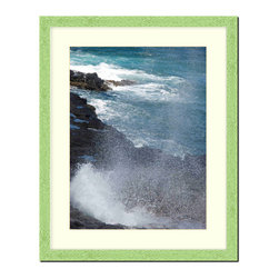 """Frames By Mail - Wall Picture Frame Hammered Green pearlized finish with a white acid-free matte, - This 8X10 hammered green pearlized finish picture frame is 1"""" wide and has a white matte, for a 5X7 picture, can be removed to accommodate a larger picture.  The frame includes regular plexi-glass (.098 thickness) foam core backing and can hang either horizontal or vertical."""