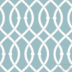 Casar coverings - Libby Langdon Collection - Lively Lattice - Aqua Mist Lively Lattice from Libby Langdon Collection for Casart removable wallcoverings
