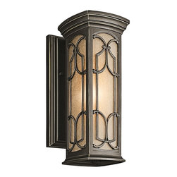 KICHLER - KICHLER Franceasi Traditional Outdoor Wall Lantern X-ZO62294 - Elegant filigree patterns are complimented by a warm toned Olde Bronze finish on this Kichler Lighting outdoor wall sconce. From the Franceasi Collection, the traditional lantern inspired shape also features a beautiful light umber seedy glass shade that adds an elegant finishing touch.
