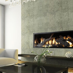 Fireplace Xtrordinair by Travis Industries - FPX Xtreme 6020 Linear GreenSmart Gas Fireplace - Shown with the Tahoe Driftwood Fire Sculpture and Black Enamel Fireback.