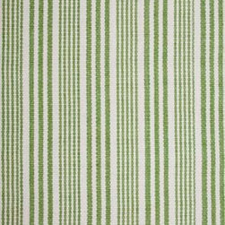 Hook & Loom Rug Company - Lenox Green/White Rug Swatch - Very eco-friendly rug, hand-woven with yarns spun from 100% recycled fiber.  Color comes from the original textiles, so no dyes are used in the making of this rug.  Made in India.