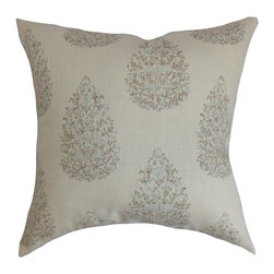 The Pillow Collection - Faeyza Floral Pillow Aqua Cocoa - Create a garden-inspired decor theme by reinventing your space with this simple throw pillow. This accent pillow features an understated elegance with its cocoa, blue and neutral color palette. The decor pillow is soothing to the eyes with its subdued color and print. This square pillow easily blends well with solids and patterns. Crafted from a blend of 55% linen and 45% rayon material. Hidden zipper closure for easy cover removal.  Knife edge finish on all four sides.  Reversible pillow with the same fabric on the back side.  Spot cleaning suggested.