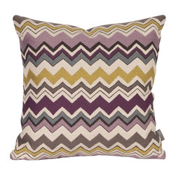 Bolt Eggplant 16 x 16 Pillow - Change up color themes or add pop to a simple sofa or bedding display by piling up the pillows in a multitude of colors, textures and patterns. This Bolt Pillow is an electric charge of vivid color and zig zag lines.