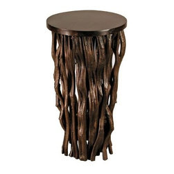 Groovystuff Time Revealed Large Side Table by Janice Kammler - Chocolate Lacquer - Truly an inspired artist's piece, the Groovystuff Large Time Revealed Side Table by Janice Kammler - Chocolate Lacquer adds a sculptural quality to your home. The chocolate lacquer finish provides a striking look to the sinewy, curving texture of the branches. The sleek top is a perfect contrast in elements, and all parts work together to create a table full of unique elegance.Groovy Stuff's Reclaimed Teak Wood FurnitureThe secret to the exquisite beauty of re-claimed teakwood furniture is simple. All it takes is the time and touch of Mother Nature. Antique farm implements, yokes, plows, sugarcane grinders, and wagons from a bygone era provide the framework for this, well, groovy furniture. Each piece you see is designed for today's lifestyle from yesterday's antiques. The rich colors and tight grains of this aged teakwood combine to form the unique character and patina of this collection.Suited for both indoor and outdoor use, Groovy Stuff furniture will provide the atmosphere and character you need to create a rugged, earthy look. If kept outdoors, your collectible will turn silvery gray as only mature teakwood does. These hints of gray add identity to each piece, but can be easily re-nourished with a fresh coat of Briwax once a season or to your taste.