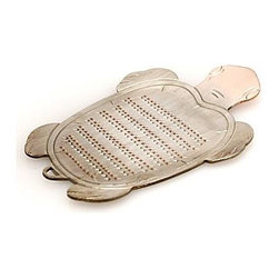 Tortoise Grater - This delicate tin-plated copper grater is made by craftsmen using the same technique from the Edo Period. It is made for grating ginger because the delicate teeth won't crush the ginger taste or texture.