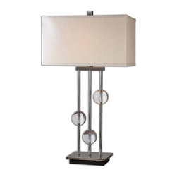 Uttermost - Uttermost Rodeshia Modern Lamp - Plated Black Chrome with Crystal Ball Accents.