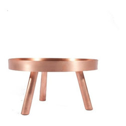 Fferrone - Fferrone | Lift Too Server/Stand - Handcrafted in Chicago for Fferrone Design.The simply elegant Lift Too Server Stand redefines table top settings. Use this smaller cousin of the Lift Stand for displaying small fruit arrangements or decorative items. The tray is finished in brushed copper which is waxed to a beautiful sheen. Elevated upon three legs, this sculptural serving piece can be used at the table or as a decorative accessory in modern living spaces or bedroom settings.