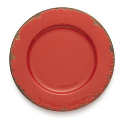 Arte Italica - Scavo Red Charger - Dress your table with a touch of a bygone era. This charming charger plate, hand made in Italy, has a distressed finish that lends the look of generations past.