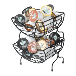 Nifty - Single Serve Coffee Baskets - The Nifty Single Serve Coffee Baskets are a contemporary and stylish way to store and display all of your favorite single serve coffee products. The baskets have a unique stackable locking system to save precious counter and cupboard space. The Nifty Single Serve Coffee Baskets make it extremely easy to find and select your favorite coffee flavor. The classy black finish looks great on any kitchen countertop.