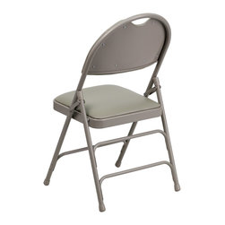 Flash Furniture - Flash Furniture Folding Chairs Large Metal Folding Chairs X-GG-YG-3-VA507CM-AH - This Triple Braced Plush Comfort HERCULES Folding Chair provides superior support and comfort. This portable folding chair can be used for Parties, Graduations, Sporting Events, School Functions and in the Classroom. This chair will be the perfect addition in the home when in need of extra seating to accommodate guests. When no longer needed, simply fold away as a compact storage solution. This economically priced chair will endure some heavy usage with an 18-gauge steel frame, triple braced and leg strengthening support bars. [HA-MC705AV-3-GY-GG]