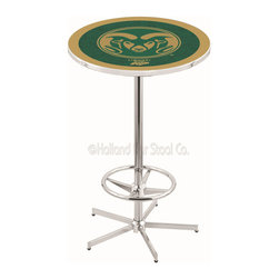 Holland Bar Stool - Holland Bar Stool L216 - 42 Inch Chrome Colorado State Pub Table - L216 - 42 Inch Chrome Colorado State Pub Table  belongs to College Collection by Holland Bar Stool Made for the ultimate sports fan, impress your buddies with this knockout from Holland Bar Stool. This L216 Colorado State table with retro inspried base provides a quality piece to for your Man Cave. You can't find a higher quality logo table on the market. The plating grade steel used to build the frame ensures it will withstand the abuse of the rowdiest of friends for years to come. The structure is triple chrome plated to ensure a rich, sleek, long lasting finish. If you're finishing your bar or game room, do it right with a table from Holland Bar Stool.  Pub Table (1)