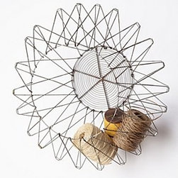"""Anthropologie - Handcrafted Accordion Basket - CollapsibleHanging hardware required Steel wireSmall: 11""""H, 11"""" diameterLarge: 14""""H, 14"""" diameterImported"""