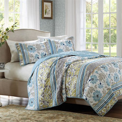Home Essence - Home Essence Camille 3 Piece Coverlet Set - The Camille Coverlet Collection brings pattern and color into your bedroom. Made from polyester microfiber and cotton filling, this coverlet and shams feature a printed floral and striped pattern that alternate down the front. Shades of blue are used throughout the design to make it easy to fit into your existing decor and create a new look at the same time. This prewashed coverlet and shams gives a beautifully worn in look for a comfortable bed to climb into. 100% polyester printed micro fiber quilted; 100% cotton 200gsm fill; prewash finish.