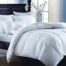 None - European Heritage Down Opulence All Year Weight White Goose Down Comforter - This comforter is the best of its grade,utilizing the finest white down from European geese. Its quality baffle box construction elicits serene and dream-inducing comfort.