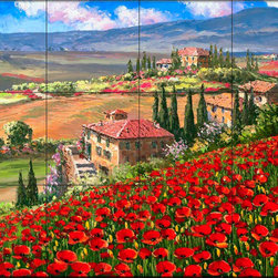 The Tile Mural Store (USA) - Tile Mural - Tuscany Villa - Kitchen Backsplash Ideas - This beautiful artwork by Sam Park has been digitally reproduced for tiles and depicts a Mediterranean field of red poppies and houses.  This garden tile mural would be perfect as part of your kitchen backsplash tile project or your tub and shower surround bathroom tile project. Garden images on tiles add a unique element to your tiling project and are a great kitchen backsplash idea. Use a garden scene tile mural for a wall tile project in any room in your home where you want to add interesting wall tile.