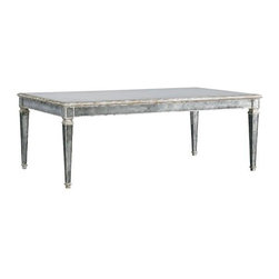 Lillian August - Lillian August Vivienne Table - Glamorous, high-styled cocktail table design featuring aged silver wood framing with inset antiqued mirror panel surfaces.