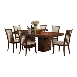 """Acme - 7-Piece Pacifica Transitional Style Cherry Finish Wood Dining Table Set - 7-Piece Pacifica transitional style collection cherry finish wood pedestal dining table set with leather like upholstered chairs. This set includes the Table , 6 - side chairs. Additional chairs also available separately at additional cost. Table measures 42"""" W x 65"""" L (83"""" L with 1 - 18"""" leaf included) . Side chairs measure 39"""" H to the back. Some assembly required."""