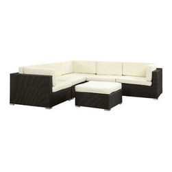 "LexMod - Merge 6 Piece Outdoor Patio Sofa Set in Espresso White - Merge 6 Piece Outdoor Patio Sofa Set in Espresso White - Convene with confidence as you embark on new memories. Merges joins creative forces together to advance a natural meeting ground of ideas. Intended to serve as your L-shaped outdoor pavillion for parties and outdoor business affairs, greetings will flourish in abundance around this sprawling set. Merge is comprised of a UV resistant rattan base, a powder-coated aluminum frame and all-weather cushions. The set is perfect for cafes, restaurants, pool areas, hotels, resorts and other outdoor spaces. Set Includes: One - Merge Corner Sofa One - Merge Left-arm Sofa One - Merge Ottoman One - Merge Right-arm Sofa Two - Merge Middle Sofa Modern Outdoor Sectional Set, Synthetic Rattan Weave, Machine Washable Cushion Covers, Powder Coated Aluminum Frame, Water & UV Resistant, Assembly Required Armless Sofa Dimensions: 27""L x 34.5""W x 25""H Single-Arm Sofa Dimensions: 34.5""L x 34.5""W x 25""H Ottoman Dimensions: 34.5""L x 58.5""W x 11.5""H Seat Height: 13""HBACKrest Height: 25""H Armrest Height: 25""H Overall Product Dimensions: 69""L x 123""W x 25""H - Mid Century Modern Furniture."